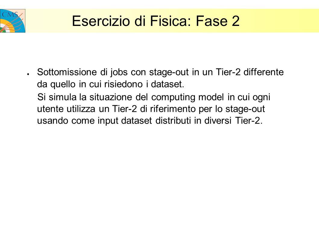 Esercizio di Fisica: Fase 2 Sottomissione di jobs con stage-out in un Tier-2 differente da quello in cui risiedono i dataset.