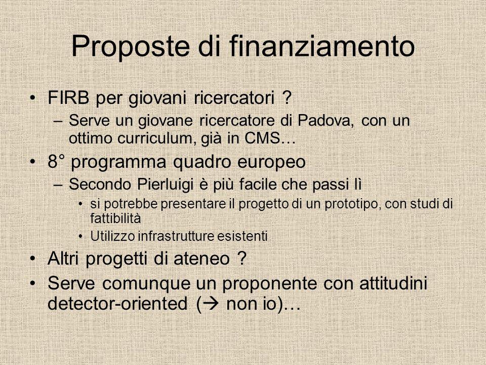 Proposte di finanziamento FIRB per giovani ricercatori .