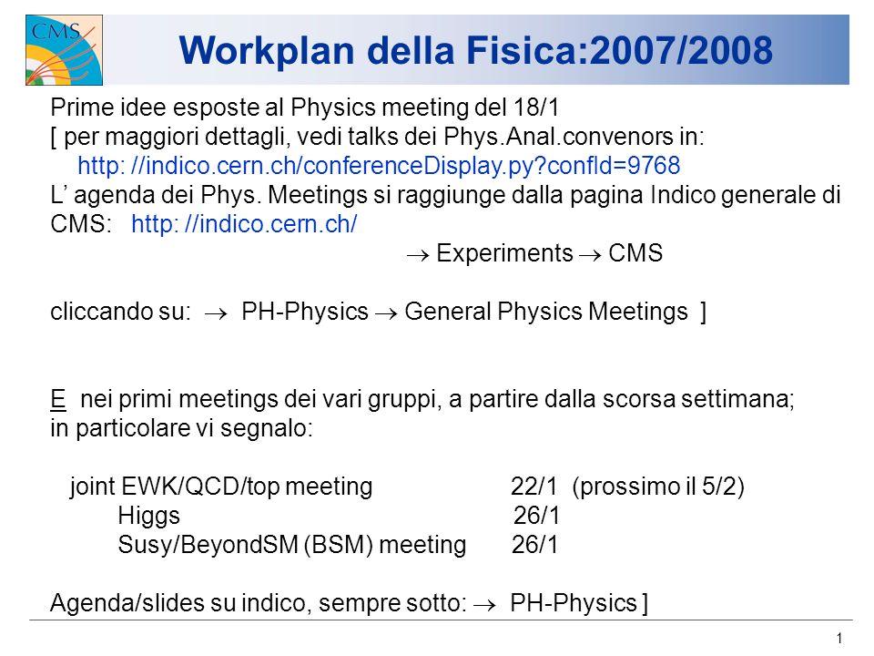 1 Workplan della Fisica:2007/2008 Prime idee esposte al Physics meeting del 18/1 [ per maggiori dettagli, vedi talks dei Phys.Anal.convenors in: http: //indico.cern.ch/conferenceDisplay.py?confId=9768 L agenda dei Phys.