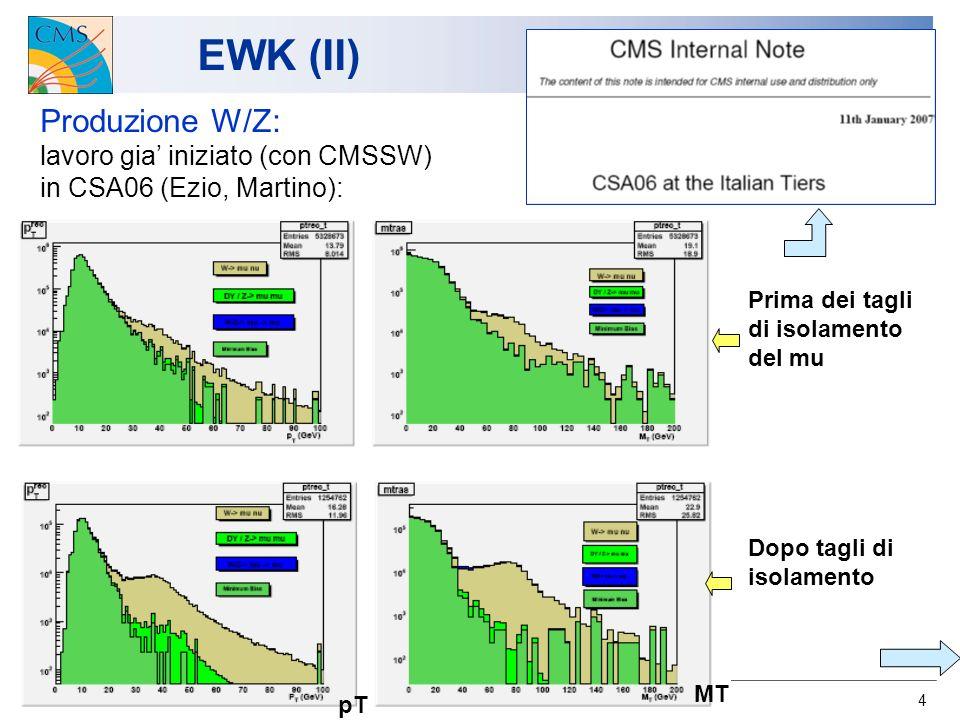 4 EWK (II) Produzione W/Z: lavoro gia iniziato (con CMSSW) in CSA06 (Ezio, Martino): Prima dei tagli di isolamento del mu Dopo tagli di isolamento pT MT