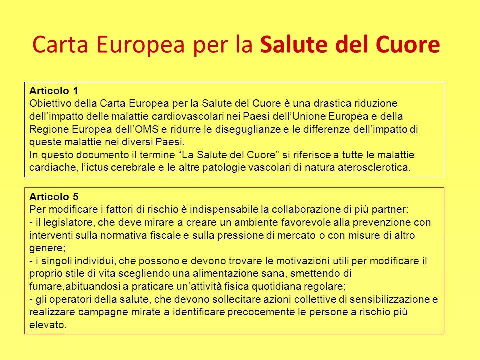 Carta Europea per la Salute del Cuore Articolo 1 Obiettivo della Carta Europea per la Salute del Cuore è una drastica riduzione dellimpatto delle mala
