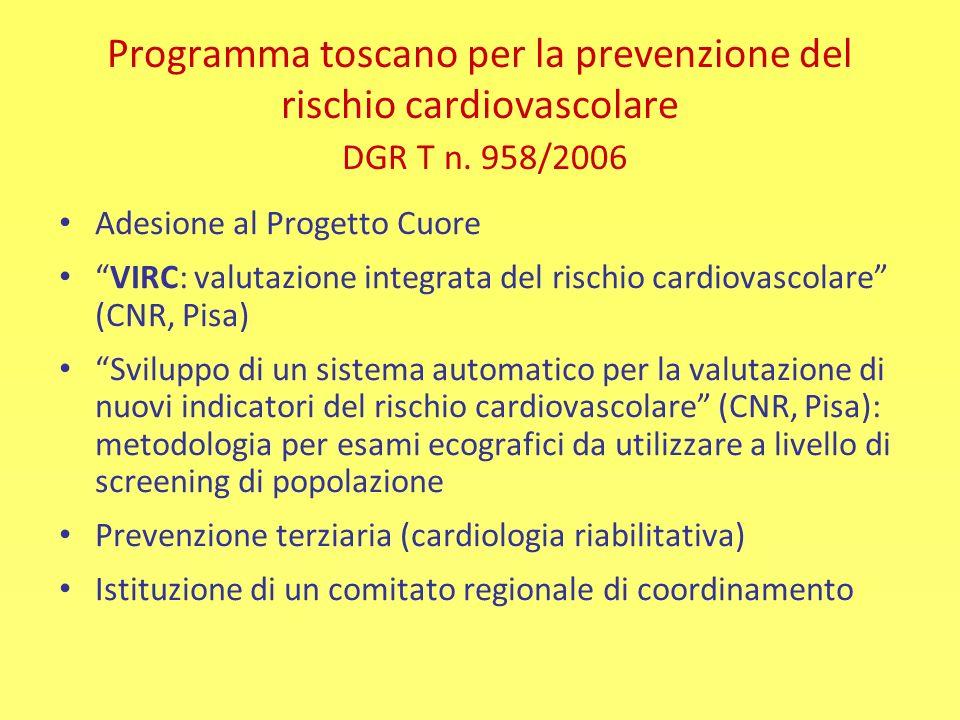 Programma toscano per la prevenzione del rischio cardiovascolare DGR T n. 958/2006 Adesione al Progetto Cuore VIRC: valutazione integrata del rischio
