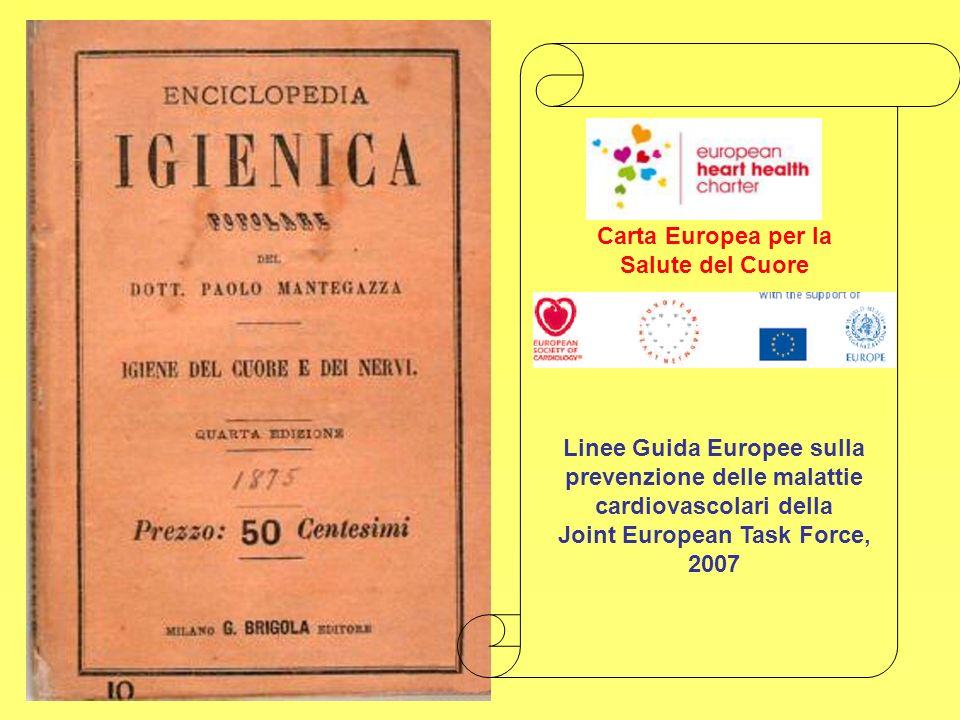 Carta Europea per la Salute del Cuore Linee Guida Europee sulla prevenzione delle malattie cardiovascolari della Joint European Task Force, 2007