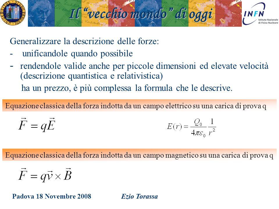 Padova 18 Novembre 2008Ezio Torassa Generalizzare la descrizione delle forze: - unificandole quando possibile - rendendole valide anche per piccole di