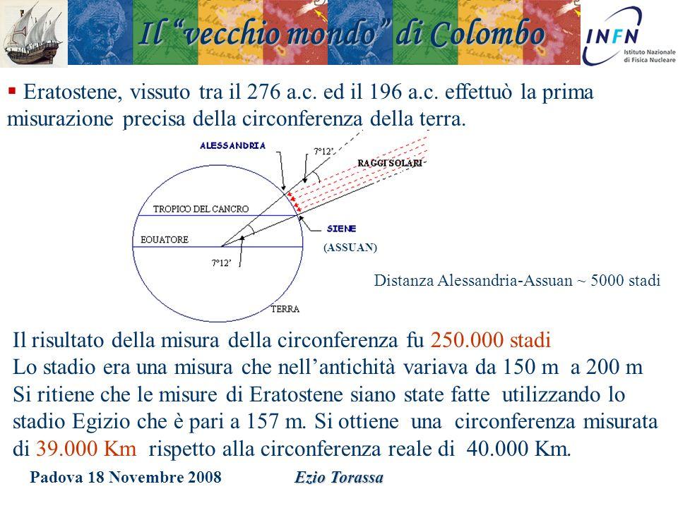 Padova 18 Novembre 2008Ezio Torassa Eratostene, vissuto tra il 276 a.c. ed il 196 a.c. effettuò la prima misurazione precisa della circonferenza della