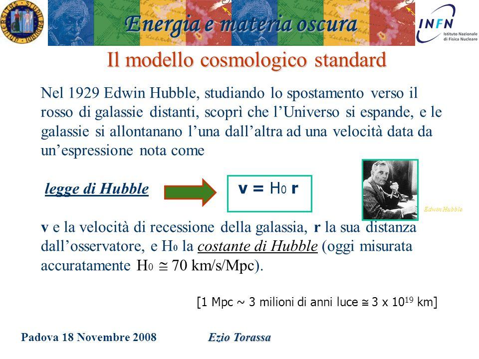 Padova 18 Novembre 2008Ezio Torassa Il modello cosmologico standard Nel 1929 Edwin Hubble, studiando lo spostamento verso il rosso di galassie distant