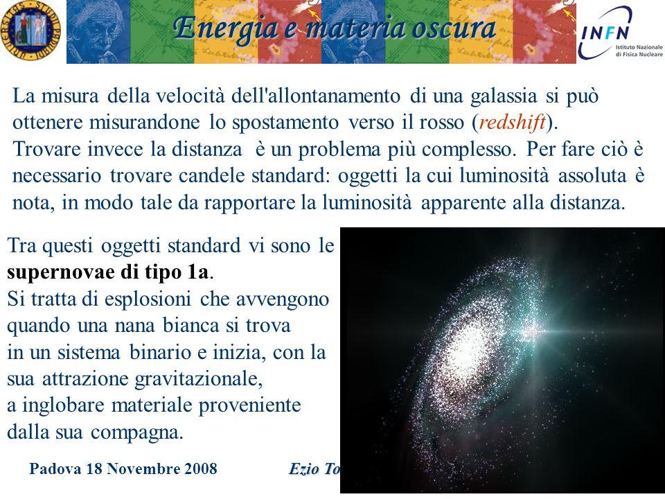 Padova 18 Novembre 2008Ezio Torassa La misura della velocità dell'allontanamento di una galassia si può ottenere misurandone lo spostamento verso il r