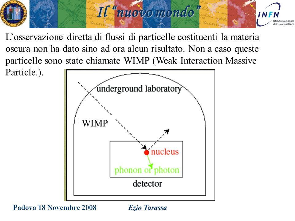 Padova 18 Novembre 2008Ezio Torassa Il nuovo mondo Losservazione diretta di flussi di particelle costituenti la materia oscura non ha dato sino ad ora