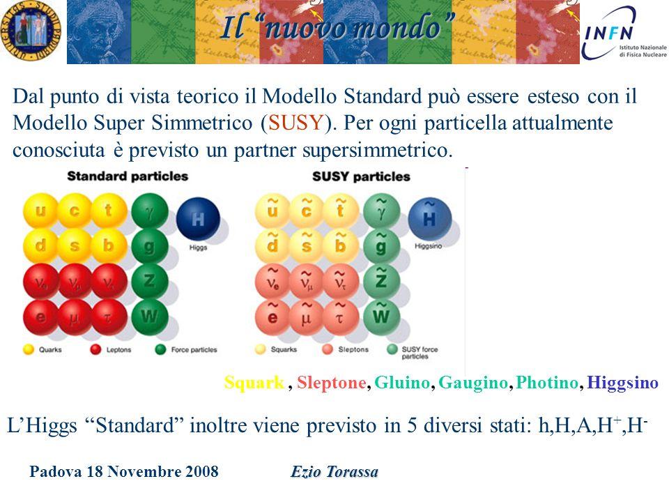 Padova 18 Novembre 2008Ezio Torassa Il nuovo mondo Dal punto di vista teorico il Modello Standard può essere esteso con il Modello Super Simmetrico (S