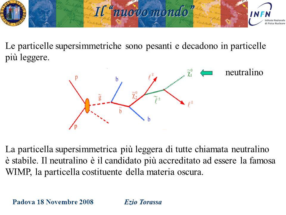 Padova 18 Novembre 2008Ezio Torassa Il nuovo mondo Le particelle supersimmetriche sono pesanti e decadono in particelle più leggere. La particella sup