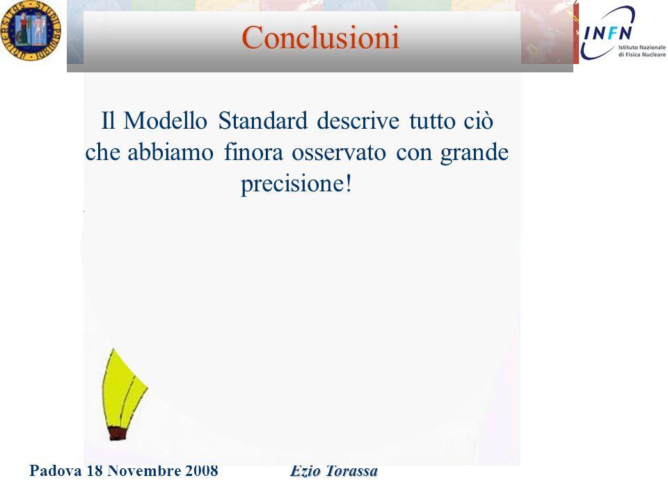 Padova 18 Novembre 2008Ezio Torassa Conclusioni Il Modello Standard descrive tutto ciò che abbiamo finora osservato con grande precisione!