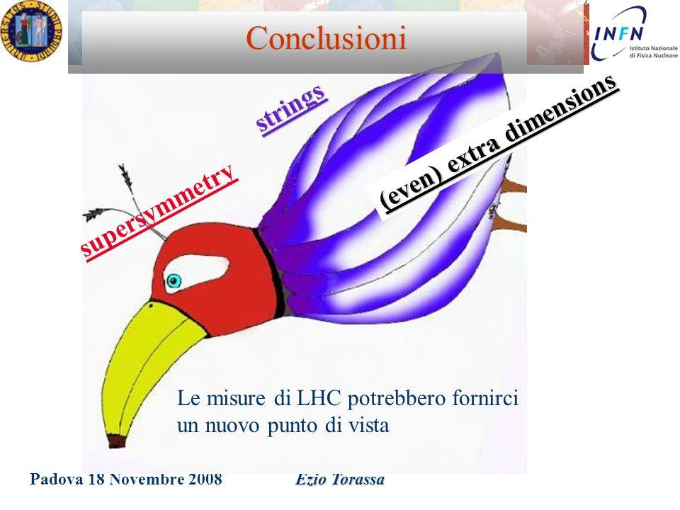 Padova 18 Novembre 2008Ezio Torassa Le misure di LHC potrebbero fornirci un nuovo punto di vista supersymmetry strings (even) extra dimensions Conclus