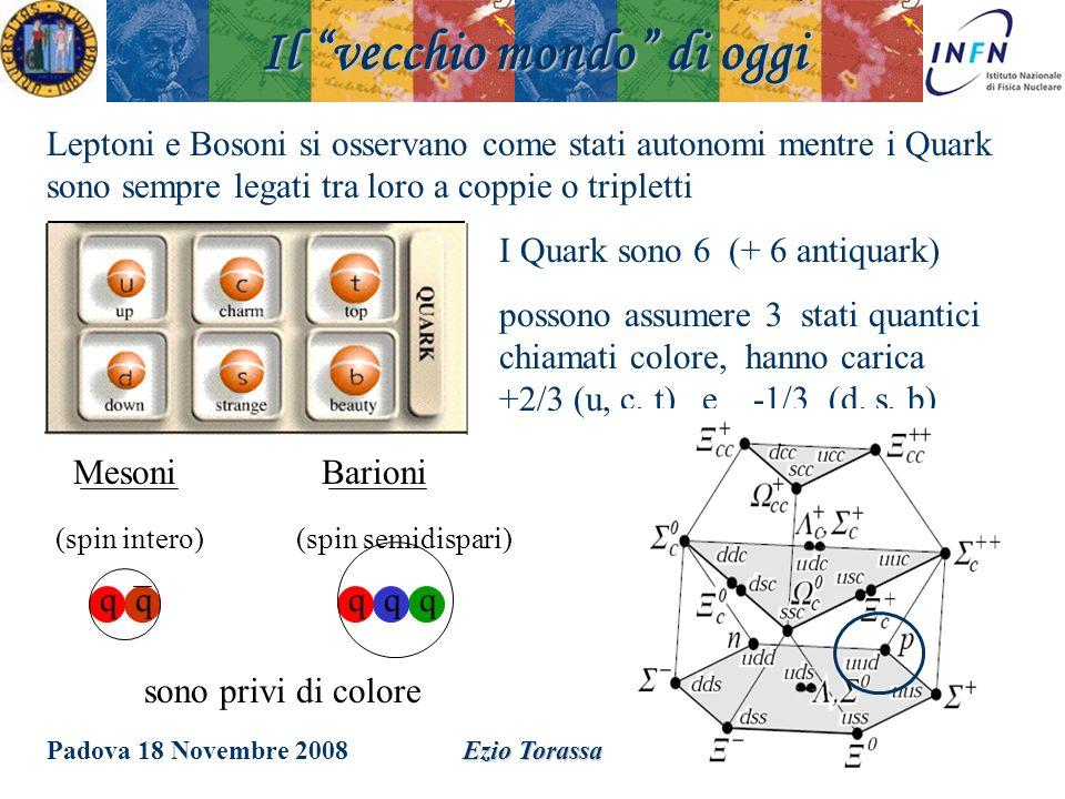 Padova 18 Novembre 2008Ezio Torassa I Quark sono 6 (+ 6 antiquark) possono assumere 3 stati quantici chiamati colore, hanno carica +2/3 (u, c, t) e -1