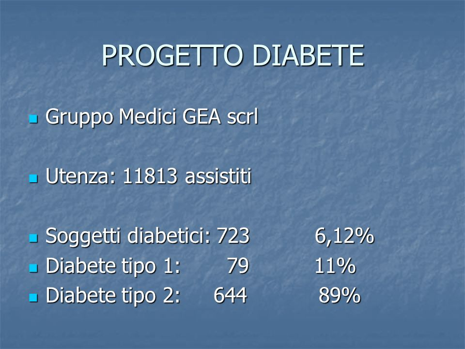 PROGETTO DIABETE Gruppo Medici GEA scrl Gruppo Medici GEA scrl Utenza: 11813 assistiti Utenza: 11813 assistiti Soggetti diabetici: 723 6,12% Soggetti diabetici: 723 6,12% Diabete tipo 1: 79 11% Diabete tipo 1: 79 11% Diabete tipo 2: 644 89% Diabete tipo 2: 644 89%