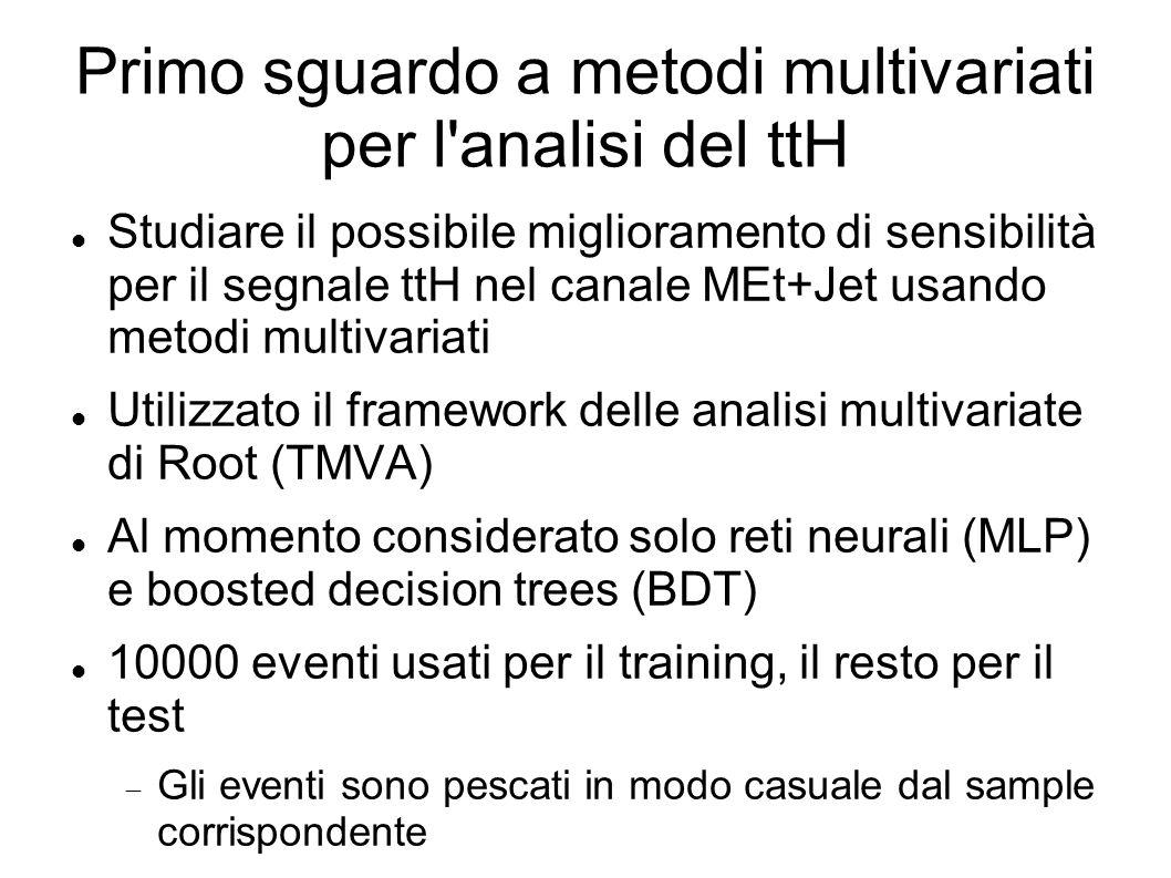 Primo sguardo a metodi multivariati per l'analisi del ttH Studiare il possibile miglioramento di sensibilità per il segnale ttH nel canale MEt+Jet usa