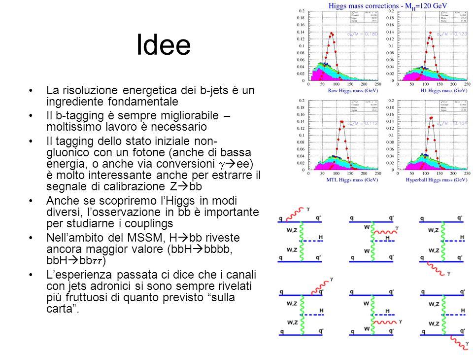 Idee La risoluzione energetica dei b-jets è un ingrediente fondamentale Il b-tagging è sempre migliorabile – moltissimo lavoro è necessario Il tagging dello stato iniziale non- gluonico con un fotone (anche di bassa energia, o anche via conversioni ee) è molto interessante anche per estrarre il segnale di calibrazione Z bb Anche se scopriremo lHiggs in modi diversi, losservazione in bb è importante per studiarne i couplings Nellambito del MSSM, H bb riveste ancora maggior valore (bbH bbbb, bbH bb ) Lesperienza passata ci dice che i canali con jets adronici si sono sempre rivelati più fruttuosi di quanto previsto sulla carta.