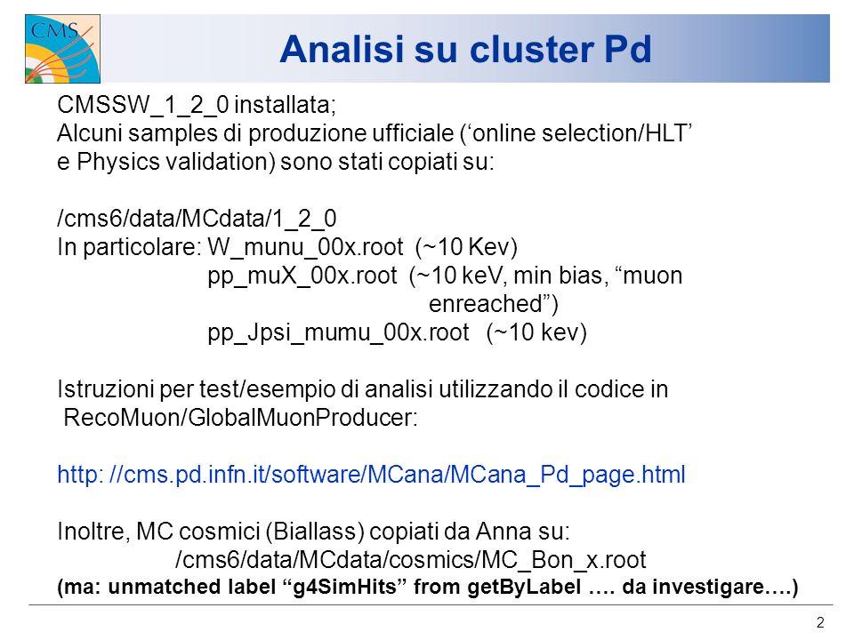 2 Analisi su cluster Pd CMSSW_1_2_0 installata; Alcuni samples di produzione ufficiale (online selection/HLT e Physics validation) sono stati copiati