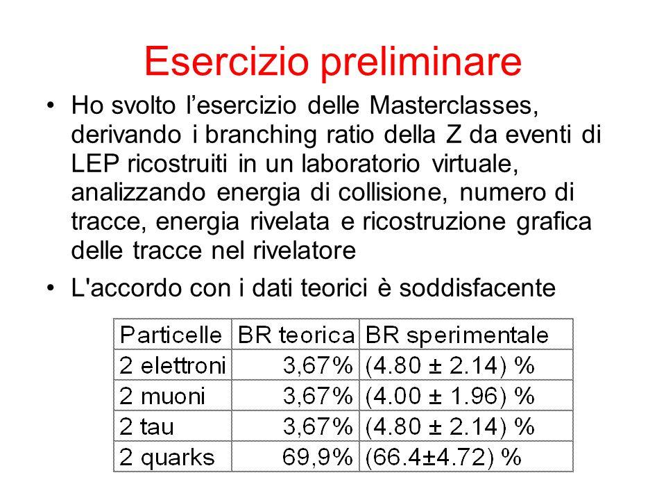 Esercizio preliminare Ho svolto lesercizio delle Masterclasses, derivando i branching ratio della Z da eventi di LEP ricostruiti in un laboratorio vir