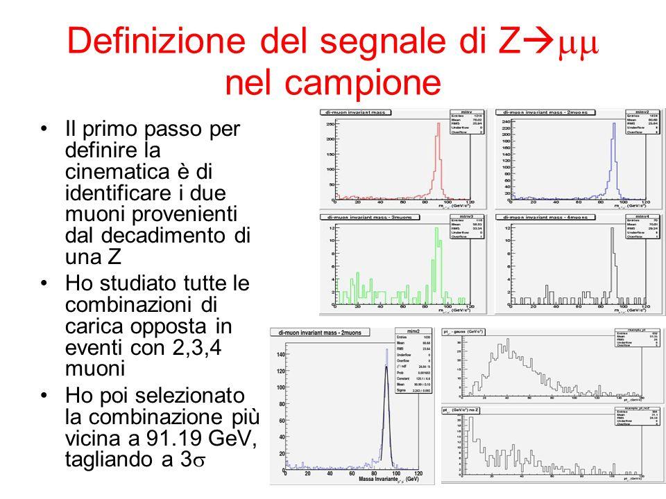 Definizione del segnale di Z nel campione Il primo passo per definire la cinematica è di identificare i due muoni provenienti dal decadimento di una Z Ho studiato tutte le combinazioni di carica opposta in eventi con 2,3,4 muoni Ho poi selezionato la combinazione più vicina a 91.19 GeV, tagliando a 3