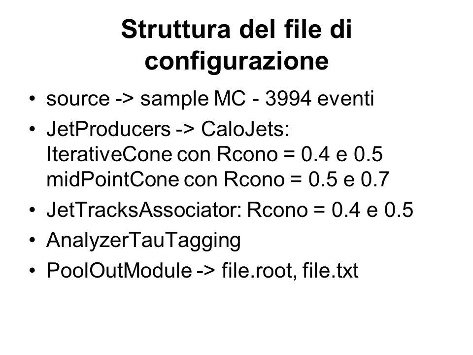 Struttura del file di configurazione source -> sample MC - 3994 eventi JetProducers -> CaloJets: IterativeCone con Rcono = 0.4 e 0.5 midPointCone con Rcono = 0.5 e 0.7 JetTracksAssociator: Rcono = 0.4 e 0.5 AnalyzerTauTagging PoolOutModule -> file.root, file.txt