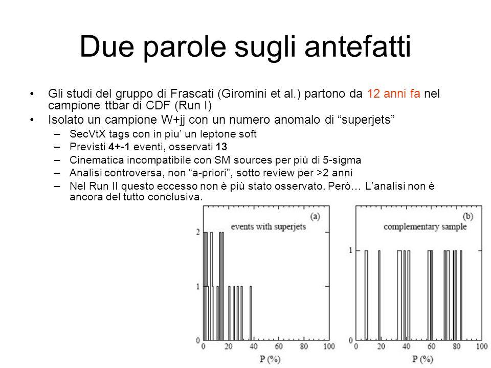Due parole sugli antefatti Gli studi del gruppo di Frascati (Giromini et al.) partono da 12 anni fa nel campione ttbar di CDF (Run I) Isolato un campione W+jj con un numero anomalo di superjets –SecVtX tags con in piu un leptone soft –Previsti 4+-1 eventi, osservati 13 –Cinematica incompatibile con SM sources per più di 5-sigma –Analisi controversa, non a-priori, sotto review per >2 anni –Nel Run II questo eccesso non è più stato osservato.