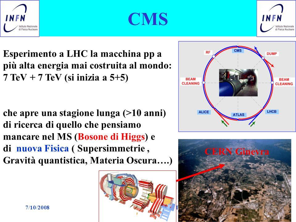 7/10/2008Paolo Checchia riunione CMS Pd1 CMS Esperimento a LHC la macchina pp a più alta energia mai costruita al mondo: 7 TeV + 7 TeV (si inizia a 5+5) che apre una stagione lunga (>10 anni) di ricerca di quello che pensiamo mancare nel MS (Bosone di Higgs) e di nuova Fisica ( Supersimmetrie, Gravità quantistica, Materia Oscura….) CERN Ginevra
