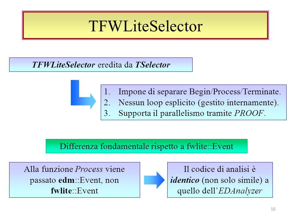 TFWLiteSelector: in pratica 17 class MyAnalysisAlgorithm { public: void process( const edm::Event & ); void postProcess( TList & ); void terminate( TList & ); }; Isoliamo lalgoritmo di analisi in una classe (o una struct) a parte TFile file(rootFile.root ); TSelector* mysel = new TFWLiteSelector Events->Process( mysel ); Creiamo unistanza di TFWLiteSelector passando lalgoritmo come template