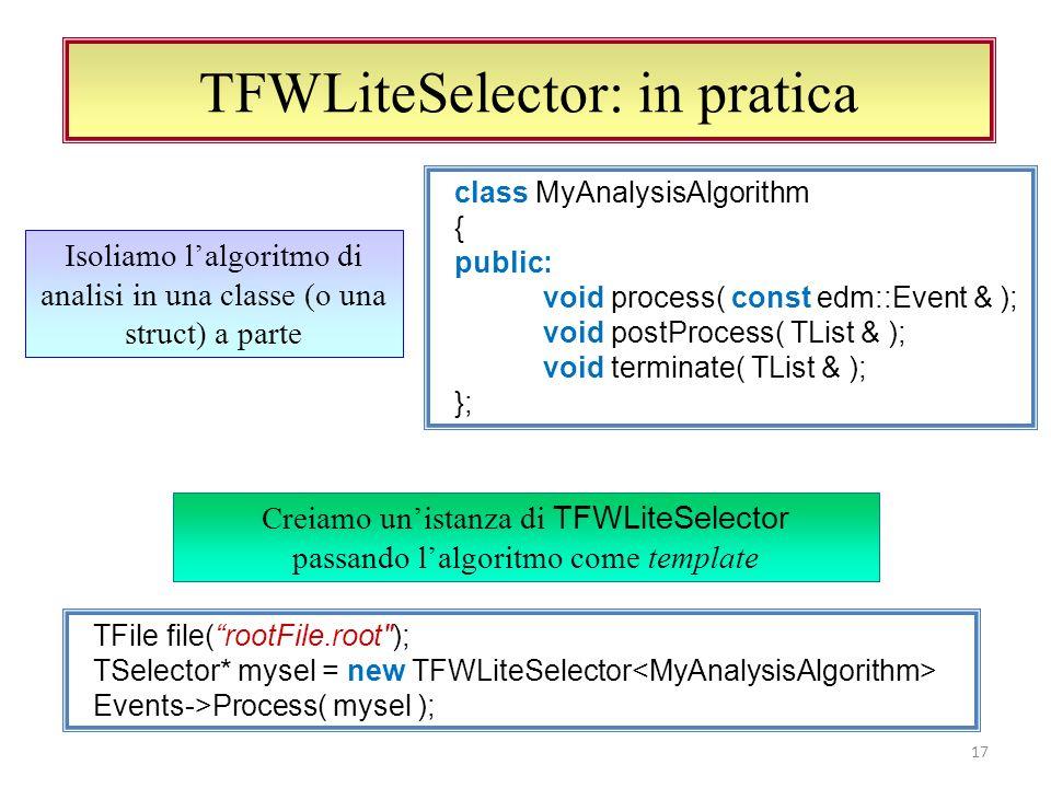 TFWLiteSelector ed EDAnalyzer 18 Lo stesso algoritmo può essere eseguito in CMSSW void MyAnalyzer::analyze(const edm::Event& ev, const edm::EventSetup& ) { algo_.process( ev ); } Basta scrivere un EDAnalyzer molto semplice e standard (pattern Adapter, GoF) Lalgoritmo visto prima diventa un membro privato della classe EDAnalyzer Soluzione ottima, ma non aggiornata al formato di CMSSW 2_1_X