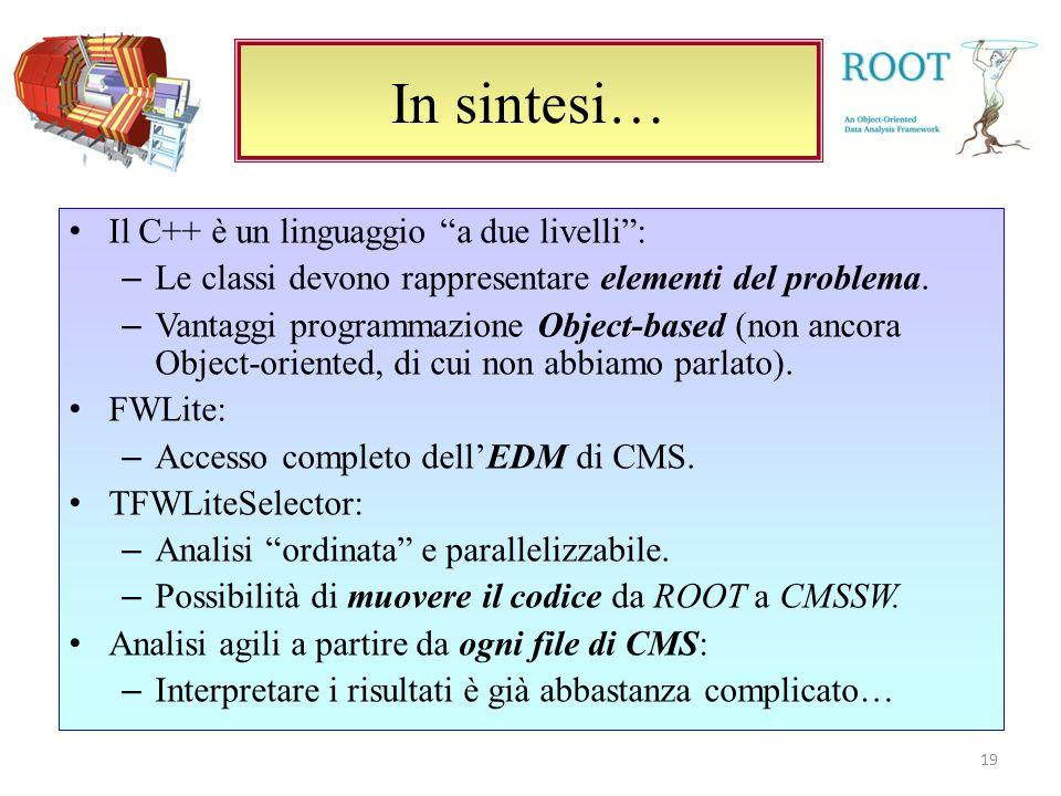 In sintesi… 19 Il C++ è un linguaggio a due livelli: – Le classi devono rappresentare elementi del problema.