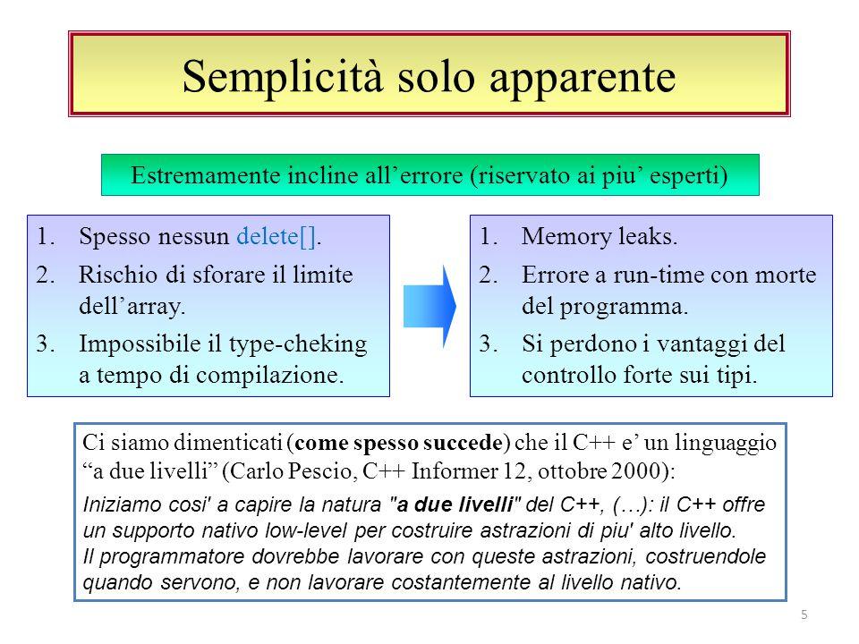 Semplicità solo apparente Ci siamo dimenticati (come spesso succede) che il C++ e un linguaggio a due livelli (Carlo Pescio, C++ Informer 12, ottobre 2000): Iniziamo cosi a capire la natura a due livelli del C++, (…): il C++ offre un supporto nativo low-level per costruire astrazioni di piu alto livello.
