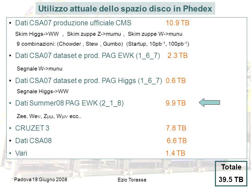 Padova 18 Giugno 2008 Ezio Torassa Utilizzo attuale dello spazio disco in Phedex Dati CSA07 produzione ufficiale CMS 10.9 TB Skim Higgs->WW, Skim zuppe Z->mumu, Skim zuppe W->munu 9 combinazioni: (Chowder, Stew, Gumbo) (Startup, 10pb -1, 100pb -1 ) Dati CSA07 dataset e prod.