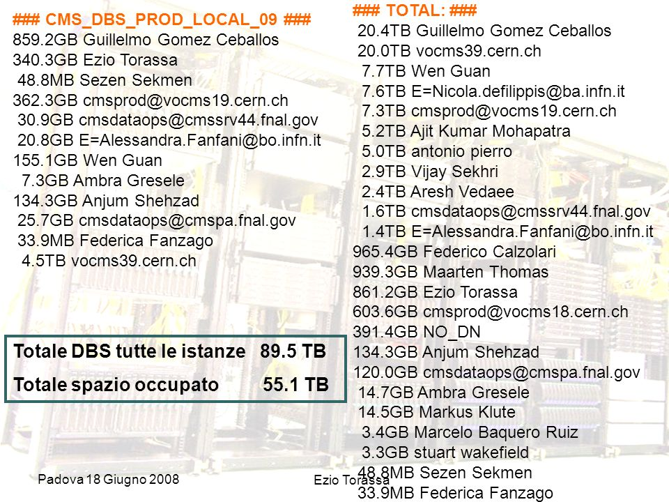 Padova 18 Giugno 2008 Ezio Torassa ### CMS_DBS_PROD_LOCAL_09 ### 859.2GB Guillelmo Gomez Ceballos 340.3GB Ezio Torassa 48.8MB Sezen Sekmen 362.3GB cmsprod@vocms19.cern.ch 30.9GB cmsdataops@cmssrv44.fnal.gov 20.8GB E=Alessandra.Fanfani@bo.infn.it 155.1GB Wen Guan 7.3GB Ambra Gresele 134.3GB Anjum Shehzad 25.7GB cmsdataops@cmspa.fnal.gov 33.9MB Federica Fanzago 4.5TB vocms39.cern.ch ### TOTAL: ### 20.4TB Guillelmo Gomez Ceballos 20.0TB vocms39.cern.ch 7.7TB Wen Guan 7.6TB E=Nicola.defilippis@ba.infn.it 7.3TB cmsprod@vocms19.cern.ch 5.2TB Ajit Kumar Mohapatra 5.0TB antonio pierro 2.9TB Vijay Sekhri 2.4TB Aresh Vedaee 1.6TB cmsdataops@cmssrv44.fnal.gov 1.4TB E=Alessandra.Fanfani@bo.infn.it 965.4GB Federico Calzolari 939.3GB Maarten Thomas 861.2GB Ezio Torassa 603.6GB cmsprod@vocms18.cern.ch 391.4GB NO_DN 134.3GB Anjum Shehzad 120.0GB cmsdataops@cmspa.fnal.gov 14.7GB Ambra Gresele 14.5GB Markus Klute 3.4GB Marcelo Baquero Ruiz 3.3GB stuart wakefield 48.8MB Sezen Sekmen 33.9MB Federica Fanzago Totale DBS tutte le istanze 89.5 TB Totale spazio occupato 55.1 TB
