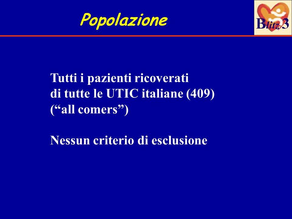 Popolazione Tutti i pazienti ricoverati di tutte le UTIC italiane (409) (all comers) Nessun criterio di esclusione