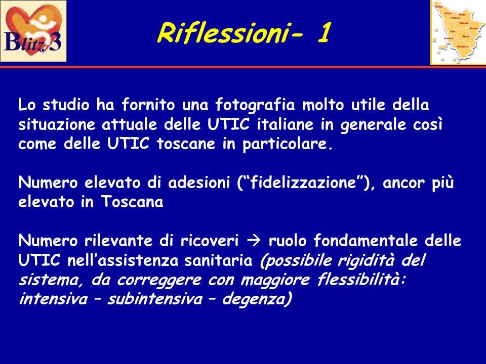Riflessioni- 1 Lo studio ha fornito una fotografia molto utile della situazione attuale delle UTIC italiane in generale così come delle UTIC toscane i