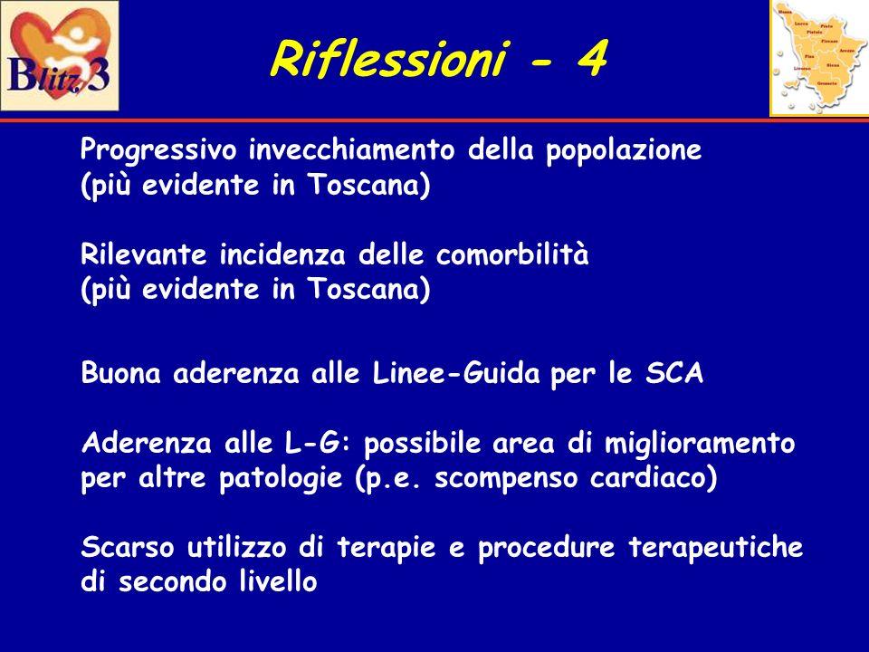 Riflessioni - 4 Progressivo invecchiamento della popolazione (più evidente in Toscana) Rilevante incidenza delle comorbilità (più evidente in Toscana)