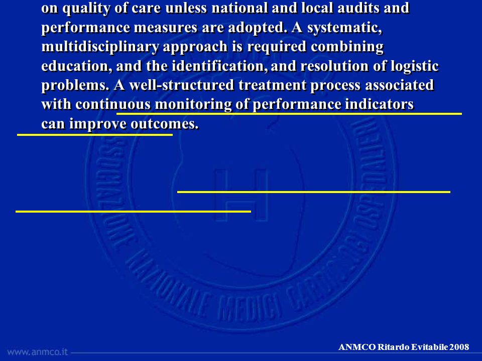 ANMCO Ritardo Evitabile 2008 Publication of guidelines may have a very limited impact on quality of care unless national and local audits and performa