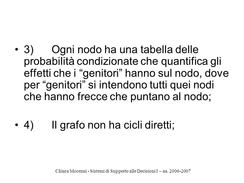 Chiara Mocenni - Sistemi di Supporto alle Decisioni I – aa. 2006-2007 3) Ogni nodo ha una tabella delle probabilità condizionate che quantifica gli ef