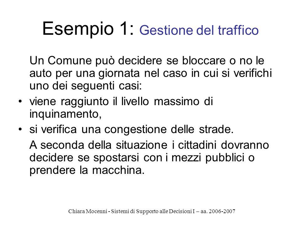 Chiara Mocenni - Sistemi di Supporto alle Decisioni I – aa. 2006-2007 Esempio 1: Gestione del traffico Un Comune può decidere se bloccare o no le auto