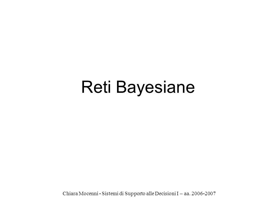 Chiara Mocenni - Sistemi di Supporto alle Decisioni I – aa. 2006-2007 Reti Bayesiane