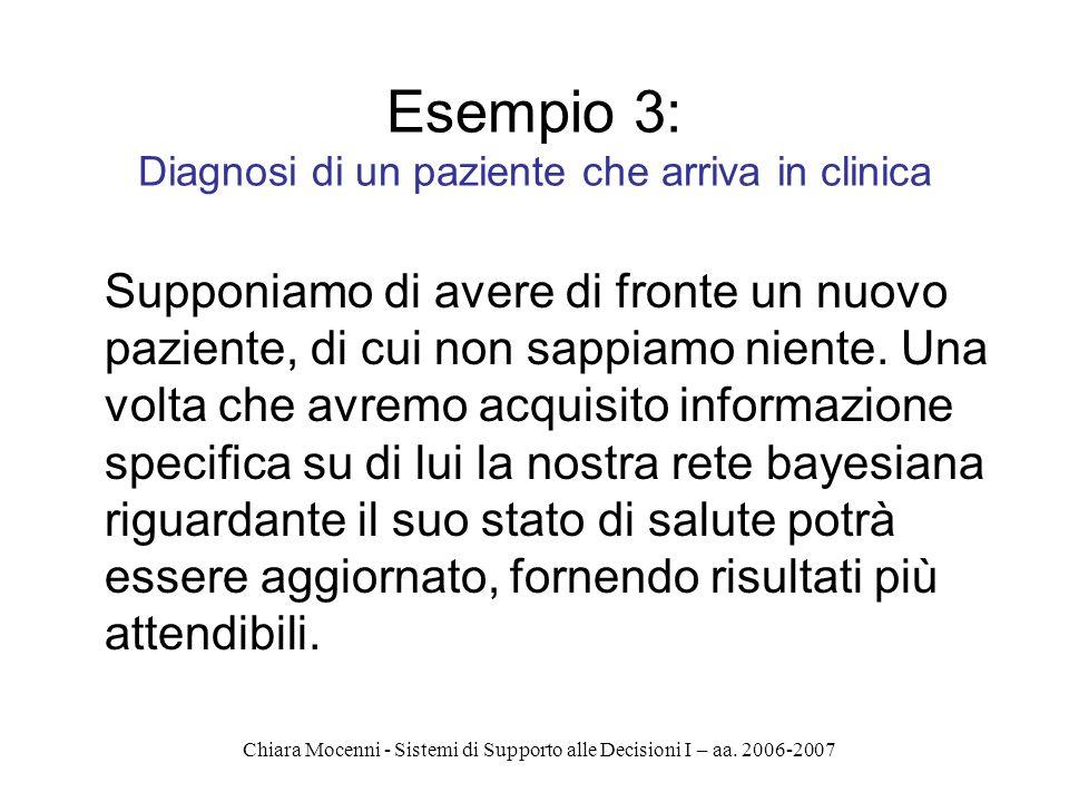 Chiara Mocenni - Sistemi di Supporto alle Decisioni I – aa. 2006-2007 Esempio 3: Diagnosi di un paziente che arriva in clinica Supponiamo di avere di