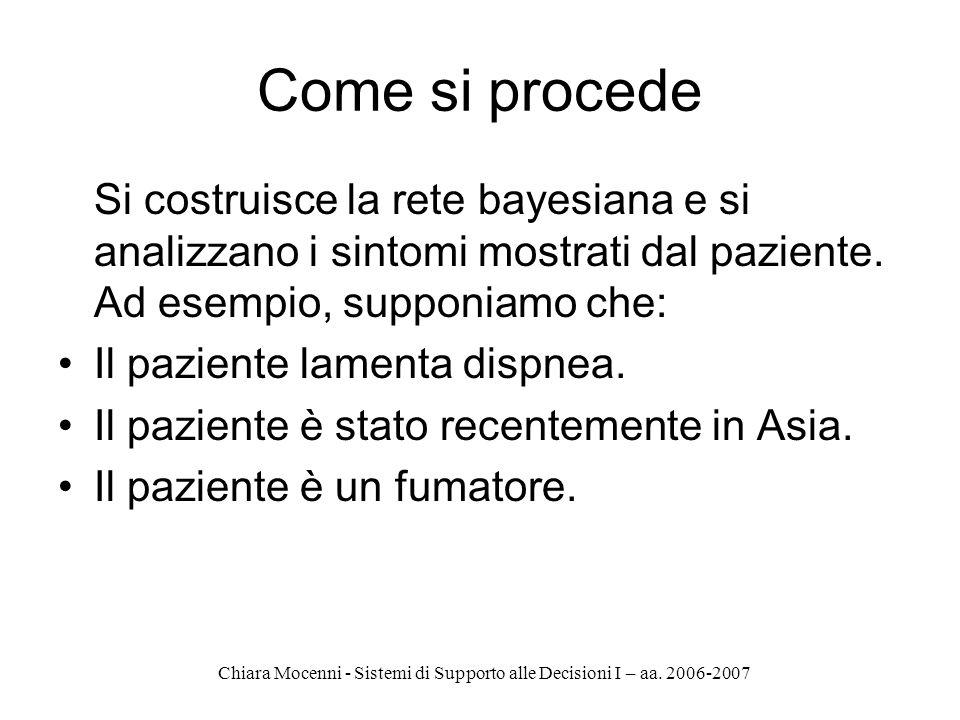 Chiara Mocenni - Sistemi di Supporto alle Decisioni I – aa. 2006-2007 Come si procede Si costruisce la rete bayesiana e si analizzano i sintomi mostra