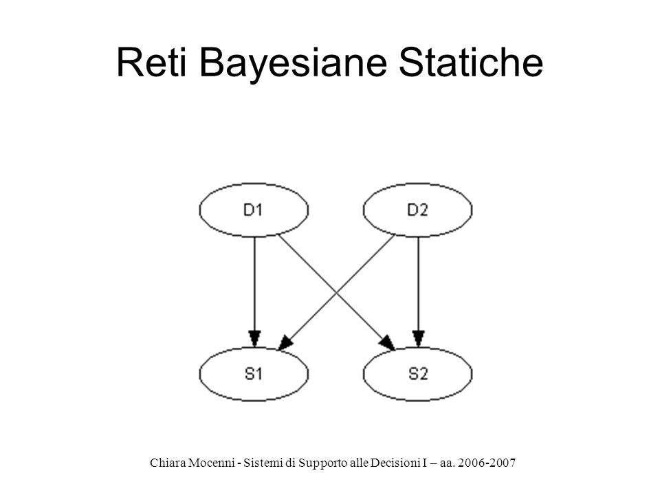 Chiara Mocenni - Sistemi di Supporto alle Decisioni I – aa. 2006-2007 Reti Bayesiane Statiche