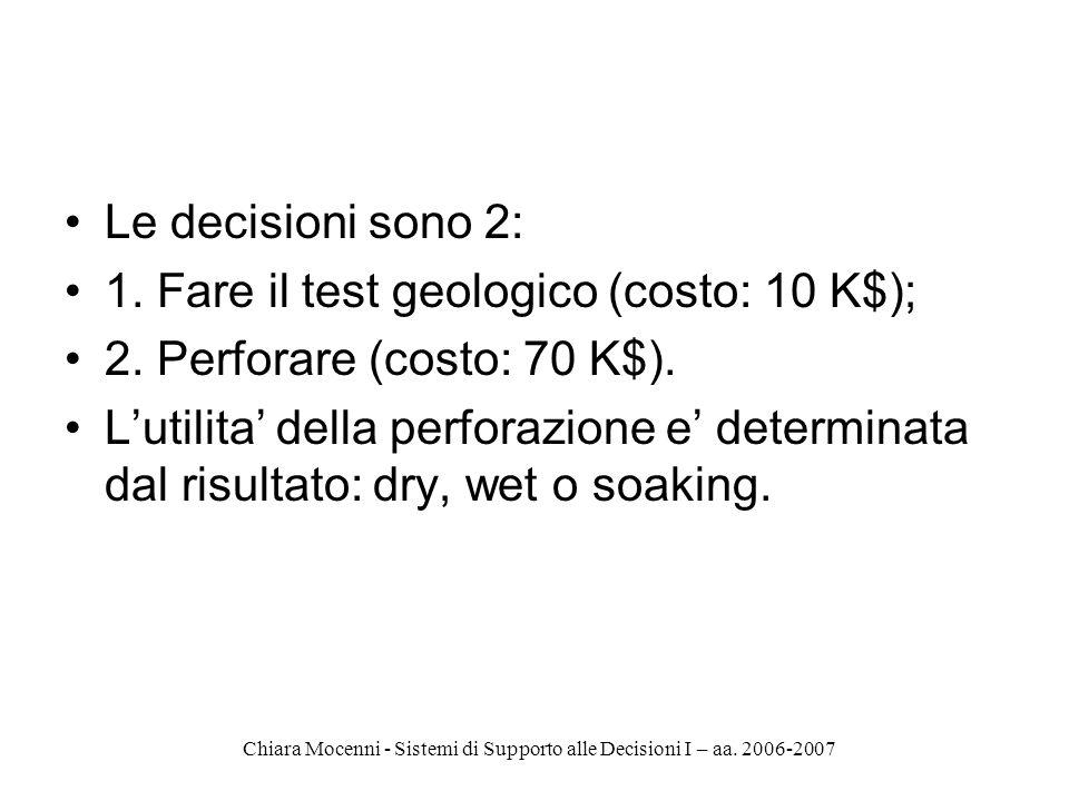Chiara Mocenni - Sistemi di Supporto alle Decisioni I – aa. 2006-2007 Le decisioni sono 2: 1. Fare il test geologico (costo: 10 K$); 2. Perforare (cos