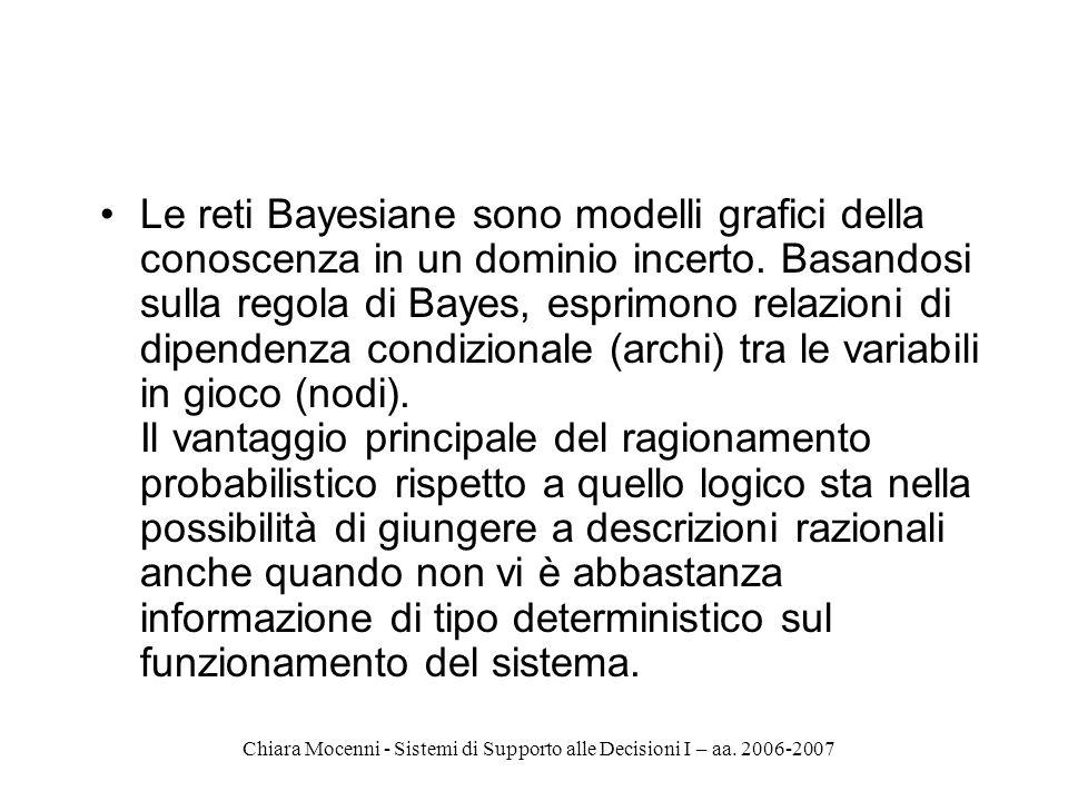 Chiara Mocenni - Sistemi di Supporto alle Decisioni I – aa. 2006-2007 Le reti Bayesiane sono modelli grafici della conoscenza in un dominio incerto. B