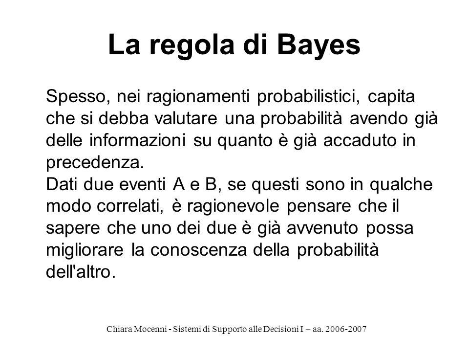Chiara Mocenni - Sistemi di Supporto alle Decisioni I – aa. 2006-2007 La regola di Bayes Spesso, nei ragionamenti probabilistici, capita che si debba