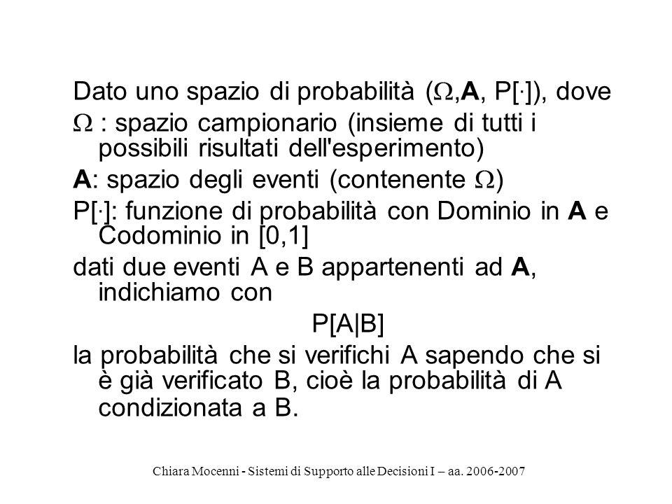 Chiara Mocenni - Sistemi di Supporto alle Decisioni I – aa. 2006-2007 Dato uno spazio di probabilità (,A, P[. ]), dove : spazio campionario (insieme d