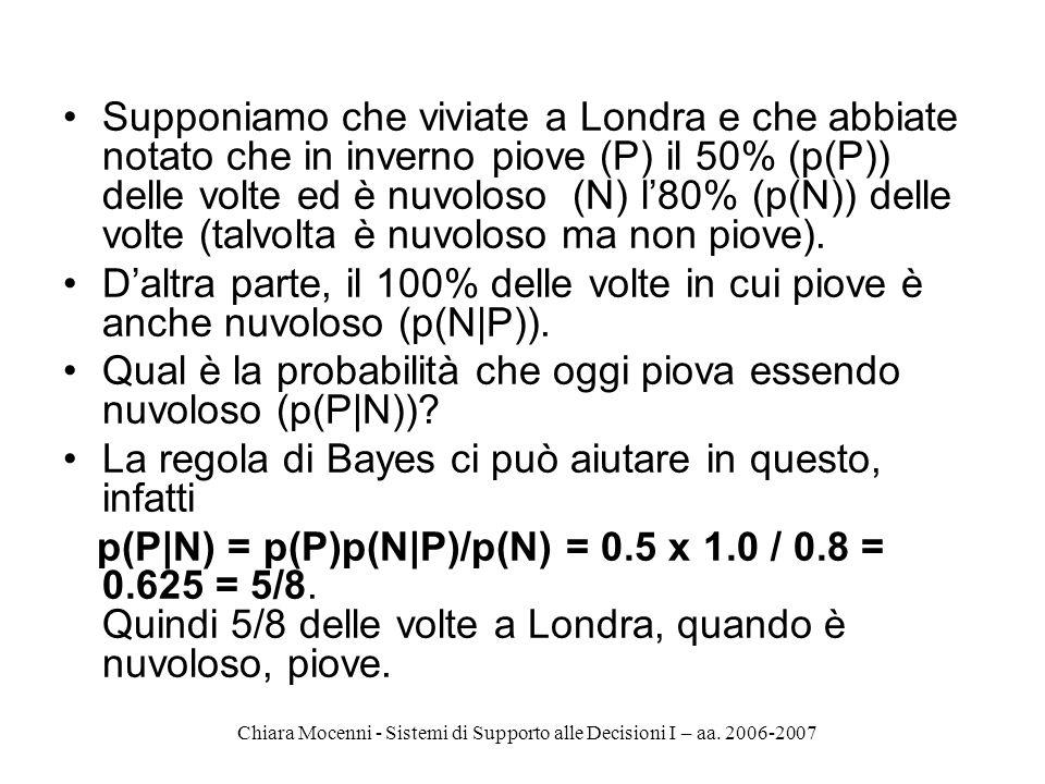 Chiara Mocenni - Sistemi di Supporto alle Decisioni I – aa. 2006-2007 Supponiamo che viviate a Londra e che abbiate notato che in inverno piove (P) il