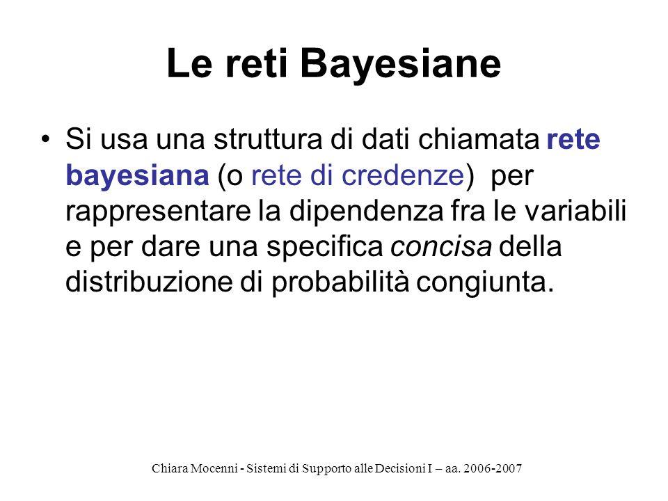 Chiara Mocenni - Sistemi di Supporto alle Decisioni I – aa. 2006-2007 Le reti Bayesiane Si usa una struttura di dati chiamata rete bayesiana (o rete d