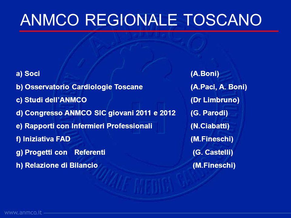 ANMCO REGIONALE TOSCANO a) Soci(A.Boni) b) Osservatorio Cardiologie Toscane(A.Paci, A.