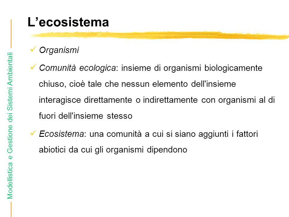 Modellistica e Gestione dei Sistemi Ambientali Lecosistema Organismi Comunità ecologica: insieme di organismi biologicamente chiuso, cioè tale che nessun elemento dell insieme interagisce direttamente o indirettamente con organismi al di fuori dell insieme stesso Ecosistema: una comunità a cui si siano aggiunti i fattori abiotici da cui gli organismi dipendono